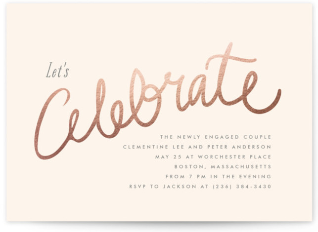 This is a landscape celebrate, elegant, elegant engagement party, formal, lets celebrate, simple, whimsical, beige Engagement Party Invitations by chocomocacino called Charlemagne with Foil Pressed printing on Signature in Classic Flat Card format.