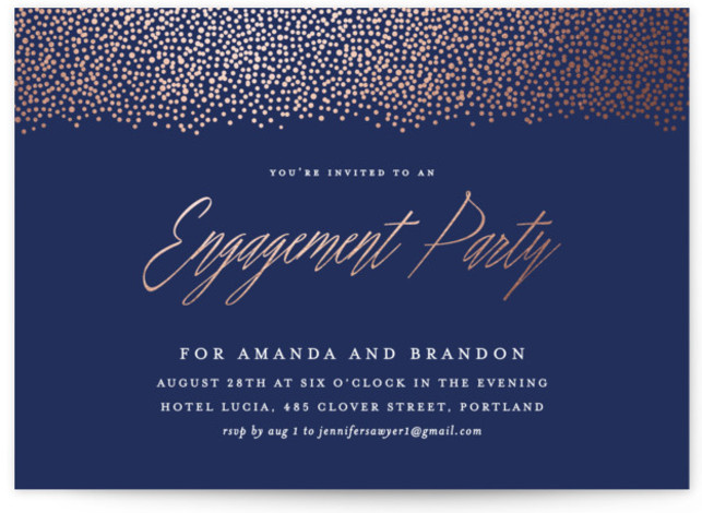 """This is a landscape elegant, blue Engagement Party Invitations by Hooray Creative called Confetti Curtain with Foil Pressed printing on Signature in Classic Flat Card format. 7"""" x 5""""Size. Add shine to your big event with our unique foil pressed ..."""