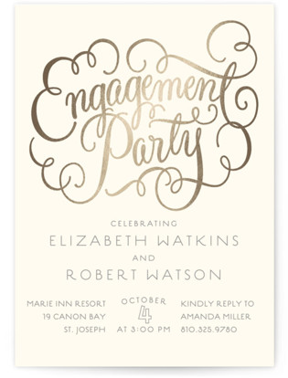 Flourished Foil-Pressed Engagement Party Invitations