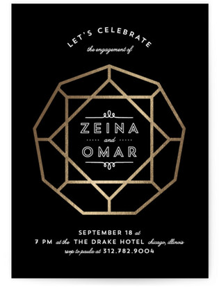 Glamorous Foil-Pressed Engagement Party Invitations