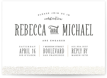 Gold Dotted Foil-Pressed Engagement Party Invitations