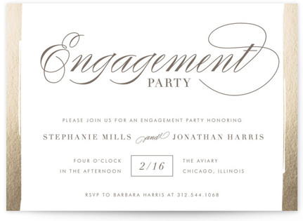 Golden Engagement Foil-Pressed Engagement Party Invitations