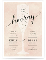This is a gold engagement party invitation by Kelly Schmidt called Sip Sip Hooray with foil-pressed printing on signature in standard.