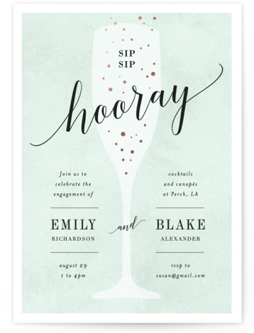 "This is a blue, rosegold Engagement Party Invitations by Kelly Schmidt called Sip Sip Hooray with Foil Pressed printing on Signature in Classic Flat Card format. 5"" x 7""Size. A fun, bridal shower invitation featuring a celebratory glass of champagne ..."