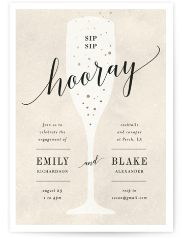 "This is a beige, gold Engagement Party Invitations by Kelly Schmidt called Sip Sip Hooray with Foil Pressed printing on Signature in Classic Flat Card format. 5"" x 7""Size. A fun, bridal shower invitation featuring a celebratory glass of champagne ..."