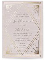 This is a beige engagement party invitation by Everett Paper Goods called Art Deco Frame with foil-pressed printing on signature in standard.