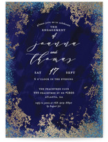 This is a blue engagement party invitation by iamtanya called Elegant sea with foil-pressed printing on signature in standard.
