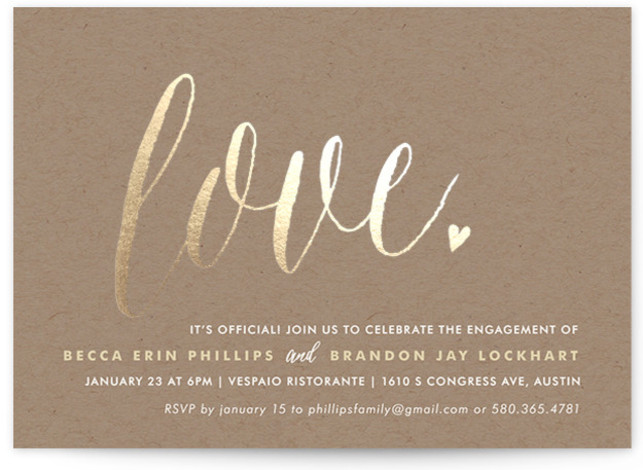 "This is a landscape bold and typographic, whimsical, gold Engagement Party Invitations by Melanie Severin called Charming Love with Foil Pressed printing on Signature in Classic Flat Card format. 7"" x 5""Size. Add shine to your big event with our ..."