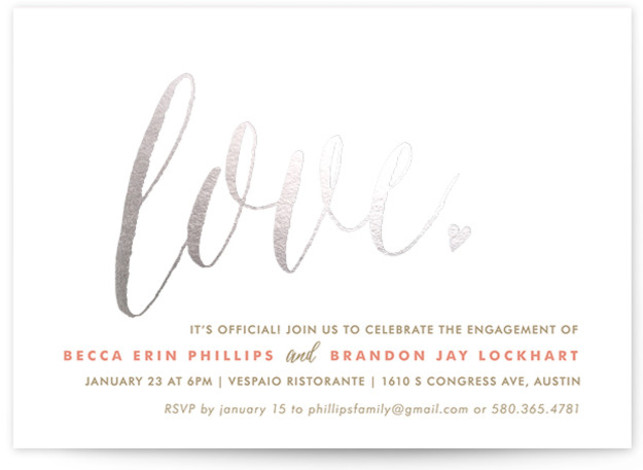 """This is a landscape bold and typographic, whimsical, pink Engagement Party Invitations by Melanie Severin called Charming Love with Foil Pressed printing on Signature in Classic Flat Card format. 7"""" x 5""""Size. Add shine to your big event with our ..."""