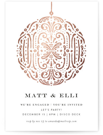 This is a portrait elegant, rosegold Engagement Party Invitations by Phrosne Ras called Disco Ball with Foil Pressed printing on Signature in Classic Flat Card format. A sleek design featuring a silver Disco Ball