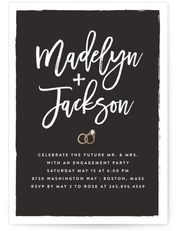 "This is a gold, grey Engagement Party Invitations by Amy Payne called Simply Engaged with Foil Pressed printing on Signature in Classic Flat Card format. 5"" x 7""Size. Casual and fun scripted names of the bride and groom are the ..."