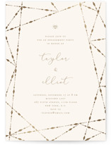 This is a beige engagement party invitation by fatfatin called Geometric Diamonds with foil-pressed printing on signature in standard.