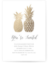 This is a gold engagement party invitation by Beth Schneider called Guilded Pineapples with foil-pressed printing on signature in standard.