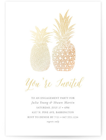 This is a offbeat or funny, gold, yellow Engagement Party Invitations by Beth Schneider called Guilded Pineapples with Foil Pressed printing on Signature in Classic Flat Card format. A small and large pineapple in gold foil illustrate this modern and ...