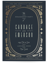 This is a blue engagement party invitation by Ana de Sousa called Gilded Love with foil-pressed printing on signature in standard.
