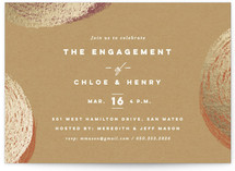 This is a brown engagement party invitation by Griffinbell Paper Co. called Essence with foil-pressed printing on signature in standard.