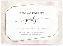 This is a gold engagement party invitation by Creo Study called diamonte glimmer with foil-pressed printing on signature in standard.