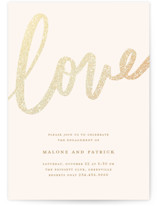 This is a brown engagement party invitation by Faith Dorn called Sparkling Love with foil-pressed printing on signature in standard.