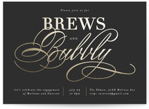 This is a black engagement party invitation by Kelly Schmidt called Brews and Bubbly with foil-pressed printing on signature in standard.