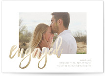 This is a gold engagement party invitation by Phrosne Ras called engaged frame with foil-pressed printing on signature in standard.