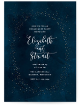 This is a blue engagement party invitation by Erin Deegan called twinkling sky with foil-pressed printing on signature in standard.