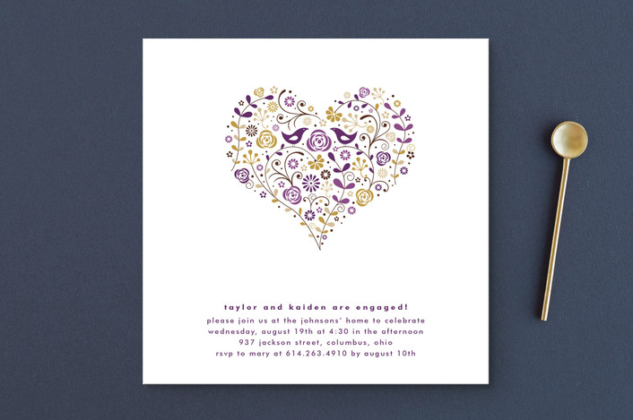 """Love Birds"" - Floral & Botanical Engagement Party Invitations in Sugar Plum by Jana Volfova."