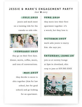 Heart Story Engagement Party Invitations