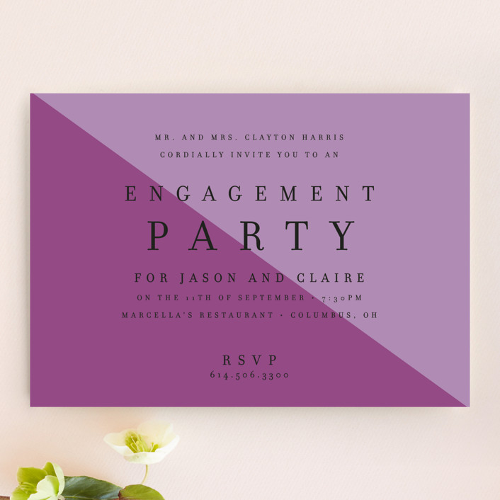 """Colorblocked"" - Modern Engagement Party Invitations in Amethyst by Cheer Up Press."