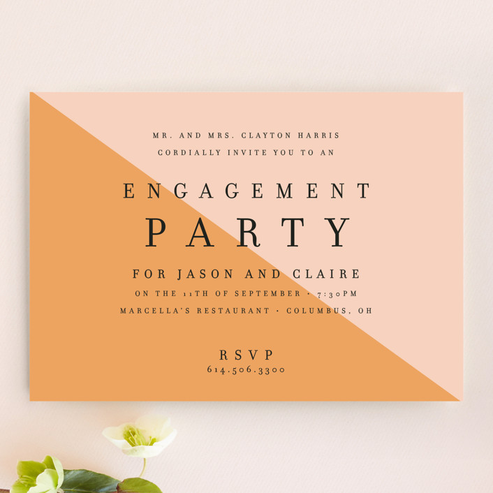 """""""Colorblocked"""" - Modern Engagement Party Invitations in Tangerine by Alaina Cherup."""
