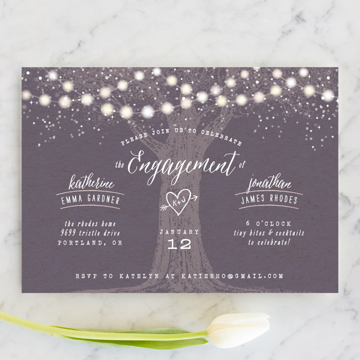"""Garden Lights"" - Rustic Engagement Party Invitations in Plum by Hooray Creative."