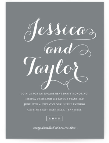 This is a portrait modern, simple and minimalist, grey Engagement Party Invitations by Sara Hicks Malone called Just Lovely with Standard printing on Signature in Classic Flat Card format. Our unique wedding party invitations are fully customizable, sourced from independent ...