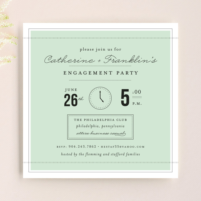 """Time For…"" - Vintage Engagement Party Invitations in Mint by Sara Hicks Malone."