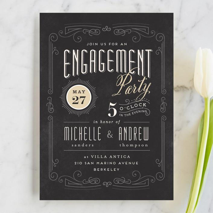 """Truffle"" - Vintage, Elegant Engagement Party Invitations in Ebony by chocomocacino."