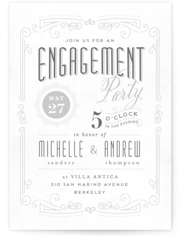 This is a portrait elegant, vintage, grey Engagement Party Invitations by chocomocacino called Truffle with Standard printing on Signature in Classic Flat Card format. A grand vintage typography play invite. This unique layout and interesting texture will help to celebrate ...
