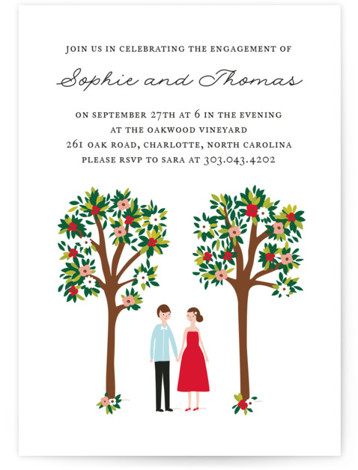 This is a portrait hand drawn, vintage, white Engagement Party Invitations by Angela Thompson called Bliss with Standard printing on Signature in Classic Flat Card format. Whimsical couple standing under flower trees engagement invite