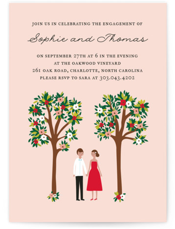 "This is a portrait hand drawn, vintage, pink Engagement Party Invitations by Angela Thompson called Bliss with Standard printing on Signature in Classic Flat Card format. 5"" x 7""Size. Whimsical couple standing under flower trees engagement invite"