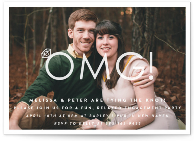 This is a landscape bold typographic, funny, white Engagement Party Invitations by Up Up Creative called Omg! Engagement Party with Standard printing on Signature in Classic Flat Card format. A fun, relaxed engagement party invitation featuring a photo of the ...
