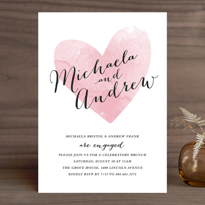"""""""Watercolor Heart"""" - Simple Engagement Party Invitations in Rose Quartz by Stacey Meacham."""