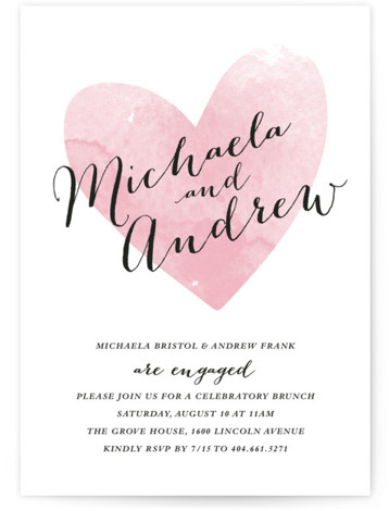 This is a portrait simple, pink Engagement Party Invitations by Stacey Meacham called Watercolor Heart with Standard printing on Signature in Classic Flat Card format. A romantic watercolor heart and calligraphy type are used on this digital rehearsal dinner invitation. ...