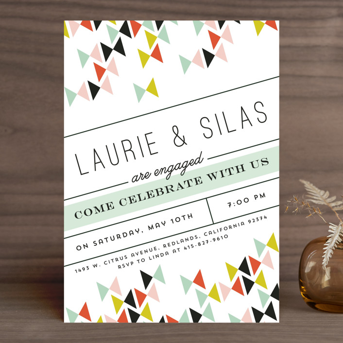 """""""Modern Bows"""" - Modern Engagement Party Invitations in Wasabi by Becca Thongkham."""