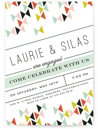 Modern Bows Engagement Party Invitations