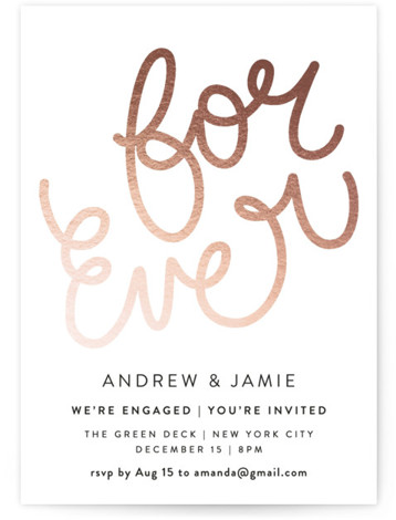 This is a portrait simple, pink Engagement Party Invitations by Phrosne Ras called For Ever with Standard printing on Signature in Classic Flat Card format. A sleek modern design with hand lettering in Rose Gold. Engagement party in style!