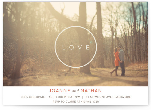 This is a landscape modern, simple, pink Engagement Party Invitations by Erin L. Wilson called Love Circle with Standard printing on Signature in Classic Flat Card format. A minimal engagement party invitation featuring an engagement photo.