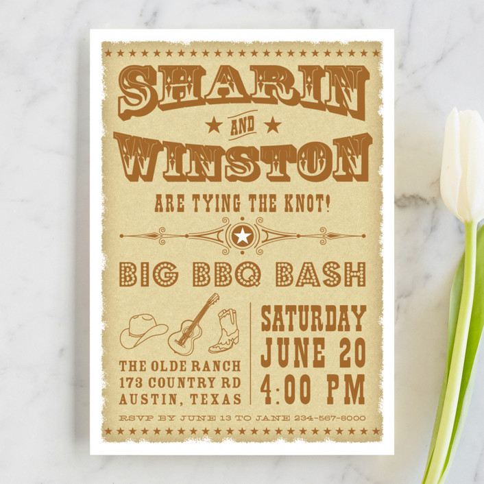 """""""Vintage Western"""" - Vintage Engagement Party Invitations in Brown Ochre by Coco and Ellie Design."""