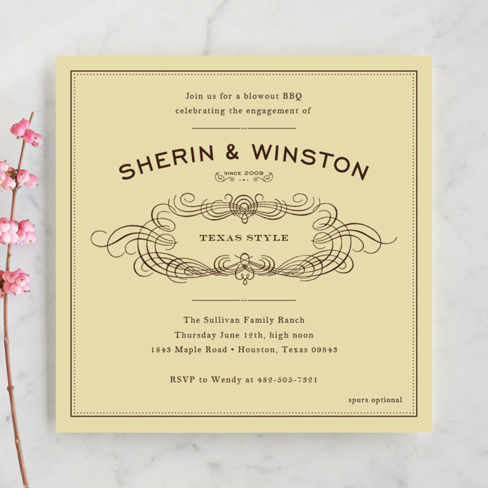 Old Time BBQ Engagement Party Invitations By Ariel Rutland