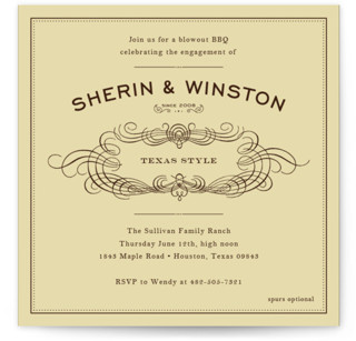 Old Time BBQ Engagement Party Invitations