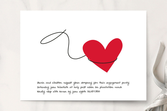 """Lasso"" - Whimsical & Funny Engagement Party Invitations in Red Rose by Marabou Design."