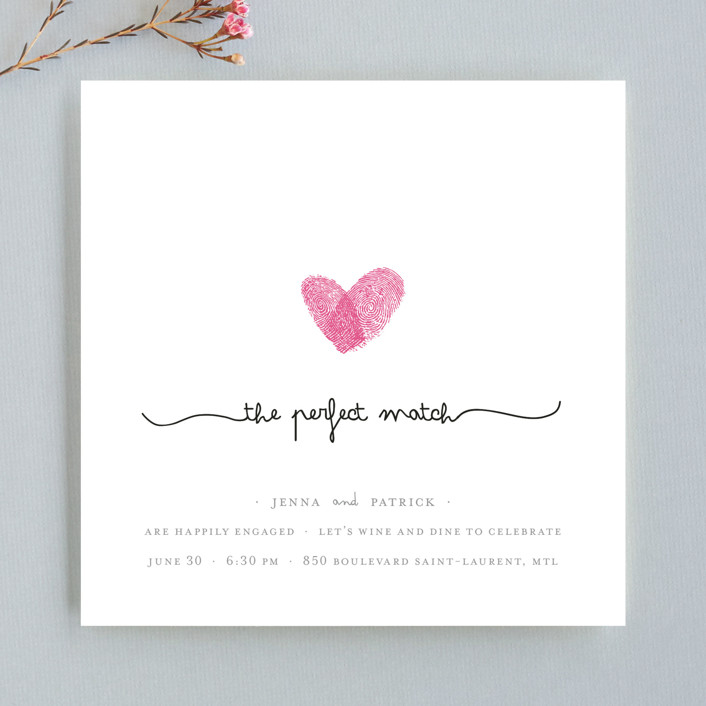 fingerprint heart modern whimsical funny engagement party invitations in pearl by - Engagement Party Invite