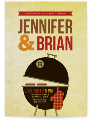 Weber Grill Engagement Party Invitations