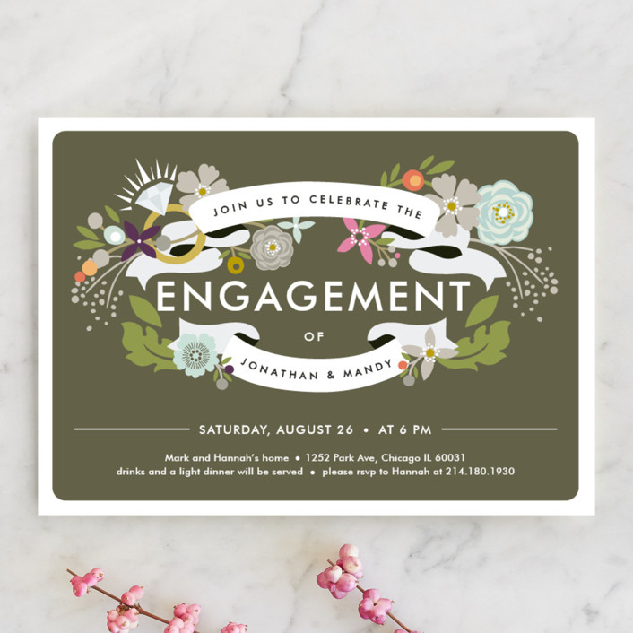 """Banner Bling"" - Floral & Botanical Engagement Party Invitations in Forest by Alethea and Ruth."